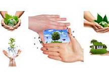 绿色生活环保手势手捧绿色地球高清图片素材