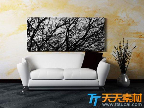 白色沙发装饰画黄色墙纸高清效果图