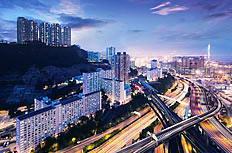 香港立交桥傍晚美景高清图片