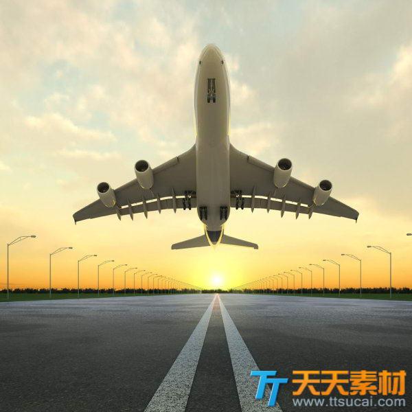 蓝天白云下飞机起飞高清图片素材