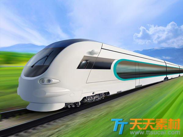 高速运行中的列车高清图片素材