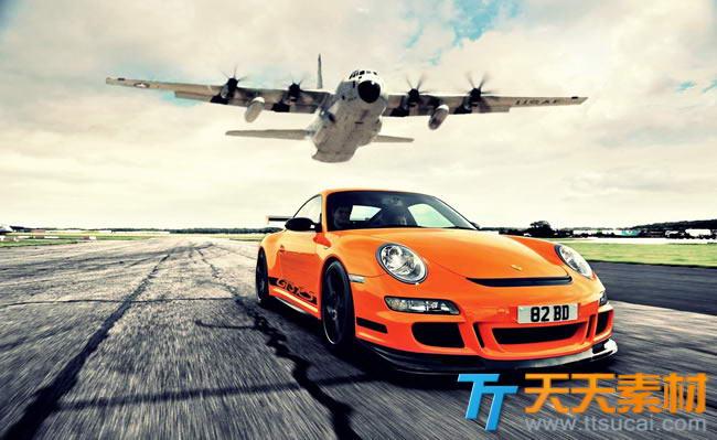 飞机跑车速度竞赛高清图片素材