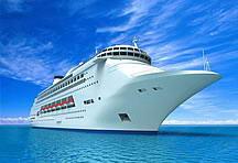 碧海蓝天下的豪华游轮高清图片素材