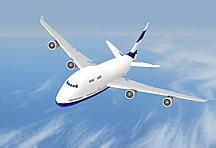 蓝天白云下飞翔的飞机图片