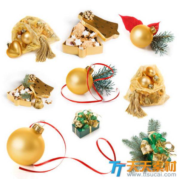 圣诞节彩球装饰品高清图片