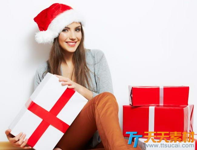圣诞装的美女高清图片素材