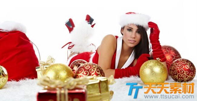 圣诞节美女图片素材