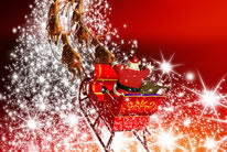 圣诞老人驾麋鹿车图片素材