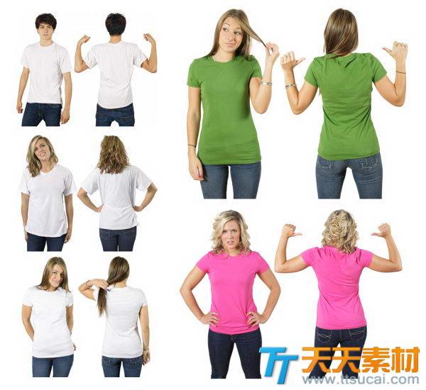 空白T恤真人模特模板高清图片