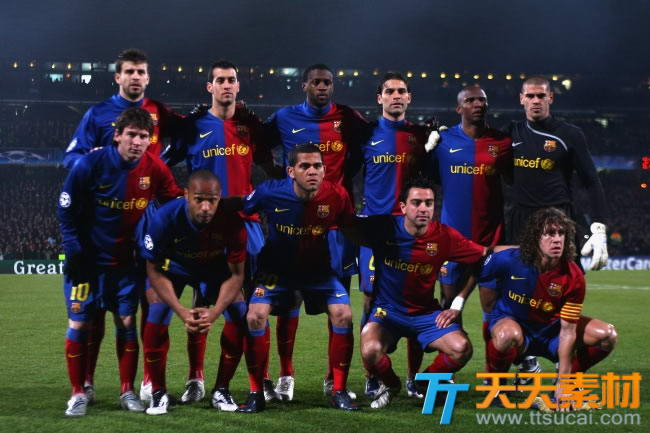 巴萨足球队队员合照高清图片