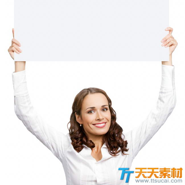 欧美美女空白举牌照图片素材