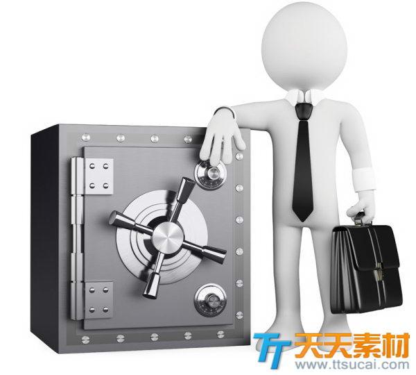 3D小人素材之倚靠保险柜的商务人士图片