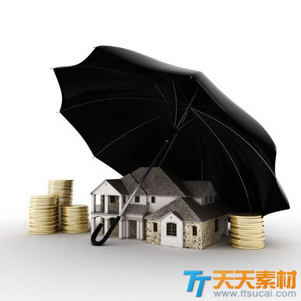创意房产金币雨伞财富图片