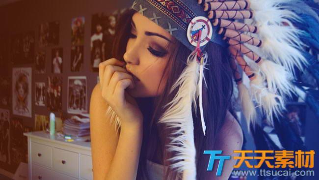 印第安头饰美女美女艺术图片