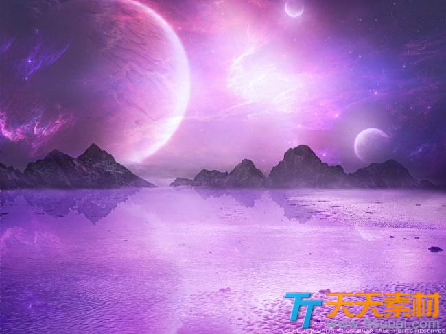 紫色星空唯美意境高清图片素材