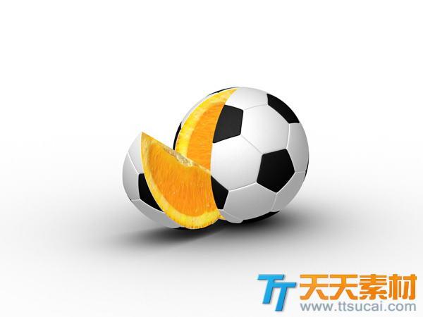 披着足球皮的橙子创意高清图片