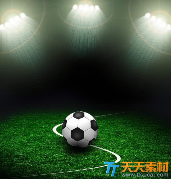 聚光灯下的足球场高清图片下载