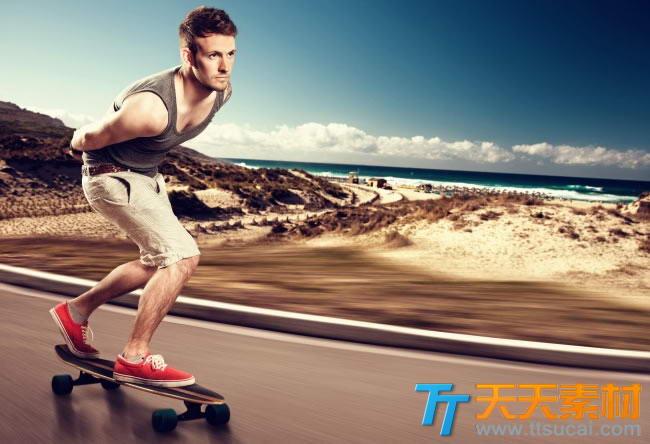 欧美滑板少年户外运动素材