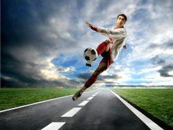 射门动作创意足球运动高清广告图片