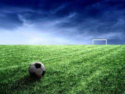 蓝天草地足球场点球图片素材