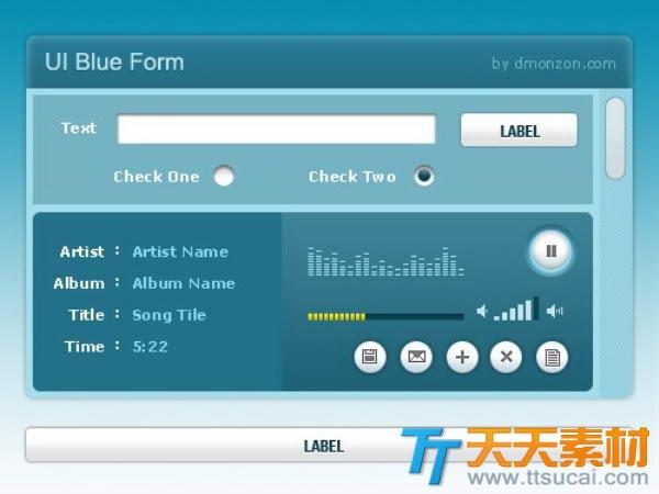 湖蓝色网页UI界面设计psd素材