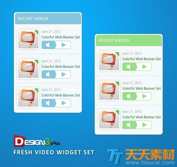 视频播放列表ui界面设计psd素材