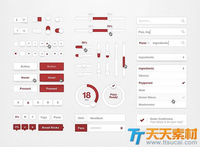简洁的红白网页元素控件UI设计psd