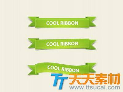 精致的绿色丝带包角psd分层素材_丝带包角标题背景