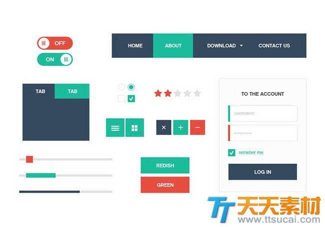 扁平化UI界面设计psd分层素材