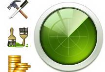 绿色雷达UI界面图标设计psd素材