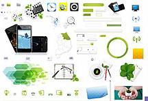 绿色环保手机端网页设计图标元素psd