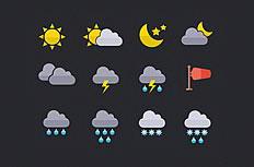 迷你天气图标psd设计素材
