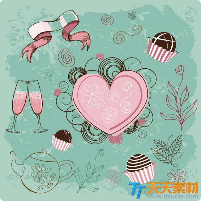 爱心甜点背景矢量素材,浪漫甜点爱心甜点矢量图下载 爱心甜点背景矢量素材,浪漫甜点爱心甜点矢量图下载是爱心甜点背景矢量素材,爱心甜点,浪漫甜点,浪漫爱心,魔式甜点,西式甜点,爱心,香槟,甜品,巧克力,丝带,彩绘,手绘,花纹,情人节,矢量图,矢量素材,EPS格式,含JPG预览图