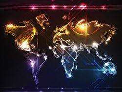 世界地图霓虹灯背景EPS矢量素材