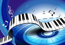 钢琴按键绚丽背景音乐音符动感矢量素材
