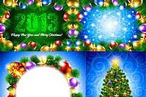 圣诞节背景矢量素材(4张绚丽璀璨矢量图