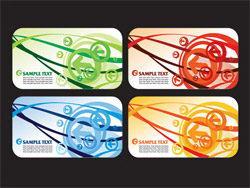 4款动感线条箭头卡片背景矢量素材