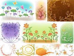 几款清新手绘花草背景矢量图案素材