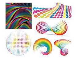 七彩立体图案背景矢量素材