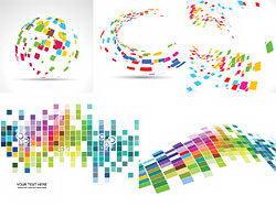多彩立体格子矢量背景素材