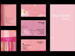 粉色小清新名片卡片矢量素材