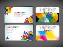 4款幻彩卡片模板矢量素材