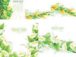 绿色清新树叶花朵卡片矢量背景素材
