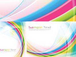 彩虹流动线条背景卡片矢量素材