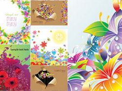 几款绚丽的七彩花朵卡片背景矢量素材