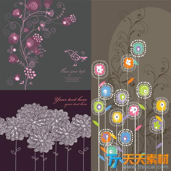 传统线描简笔鲜花花纹矢量素材