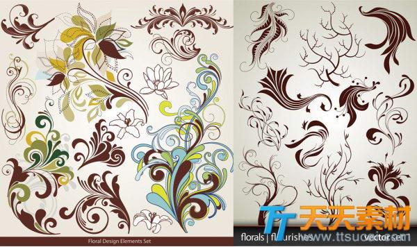 典雅时尚花纹装饰矢量素材