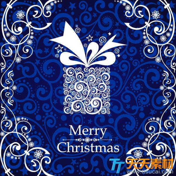 圣诞蓝色经典背景欧式底纹矢量图