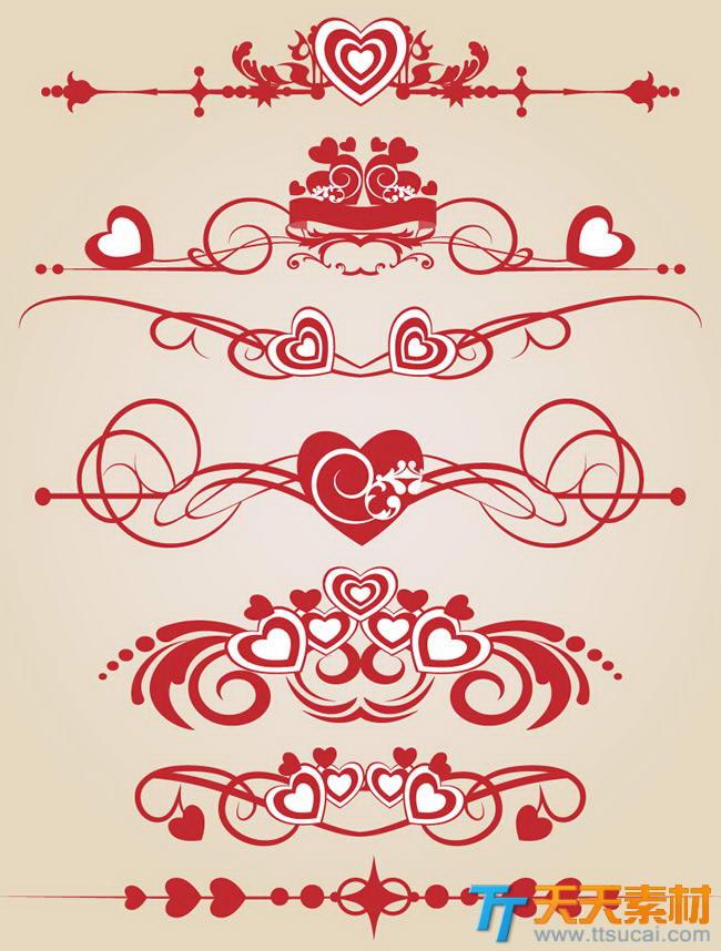 矢量爱心花纹边框素材