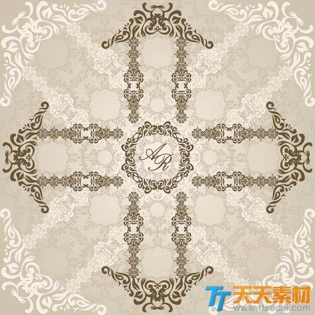 十字箭头欧式花纹矢量图